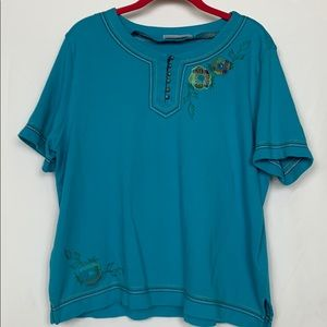 Alfred Dunner Petite teal blue top size PXL